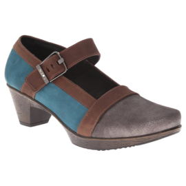 Dashing Gray Shimmer Leather-Teal Nubuck-Carob Brown